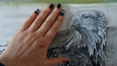 Work in Progress, Grisaille underpainting. Source shows close up of Resting white-tailed eagle head with size comparison.
