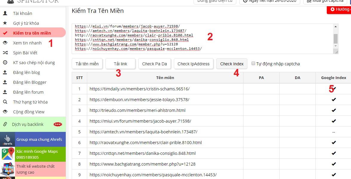 Công cụ check index hàng loạt