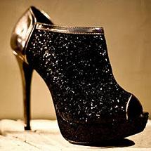 Open boot com glitter preto