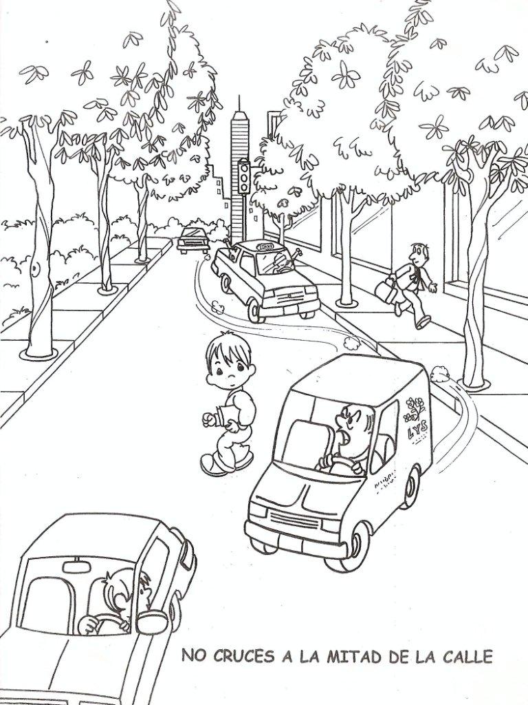 Portal Escuela Colorear : Niño cruza a mitad de la calle, no cruza ...
