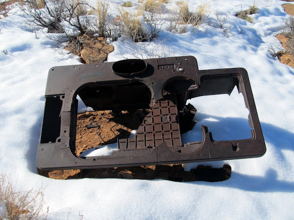 Part of an old stove at a cowboy camp near the top of the trail into Keg Spring Canyon
