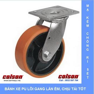 Bánh xe PU lõi Gang bánh xe đẩy tải nặng (315~550kg) www.banhxepu.net