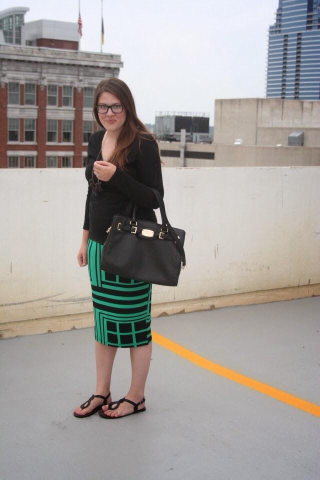 Pencil Skirt, Michael Kors Purse, Emerald Green, Green and Black