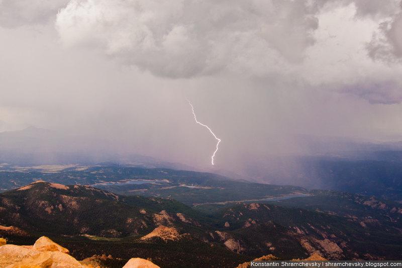 Pikes Peak Mountain Lightning Colorado Пайкс Пик Колорадо Горы Молния