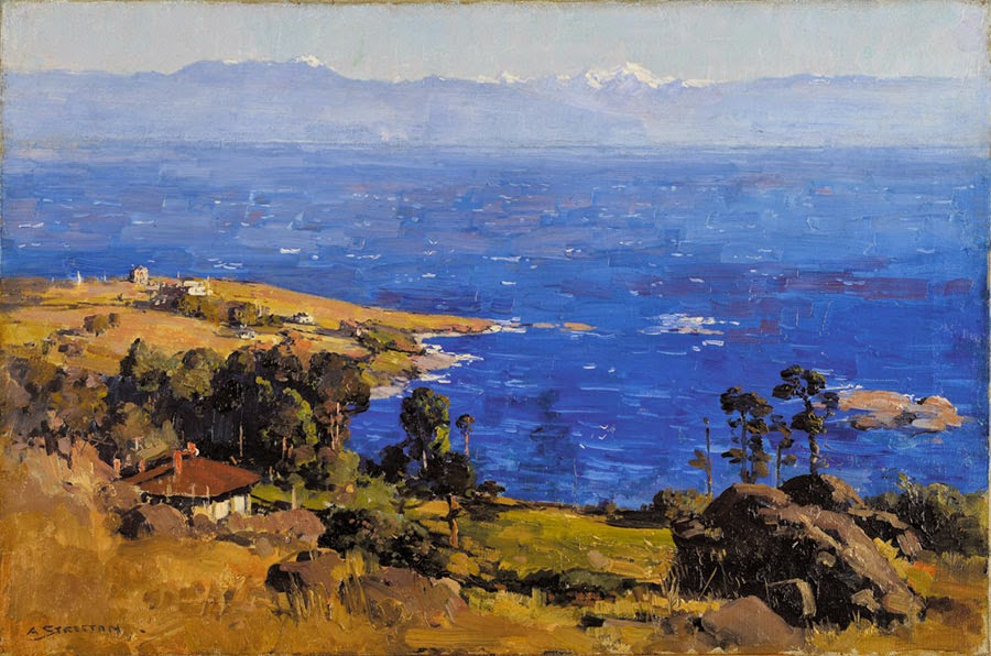 Arthur Streeton - Blue Bay and Olympic Mountains, 1923