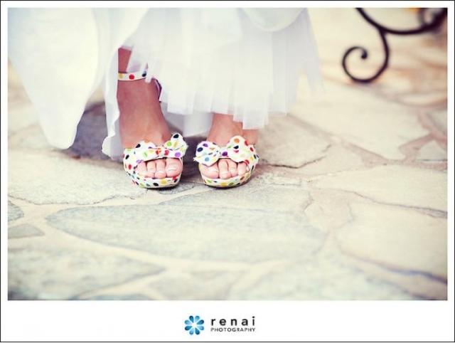 Zapatos de novia con topos