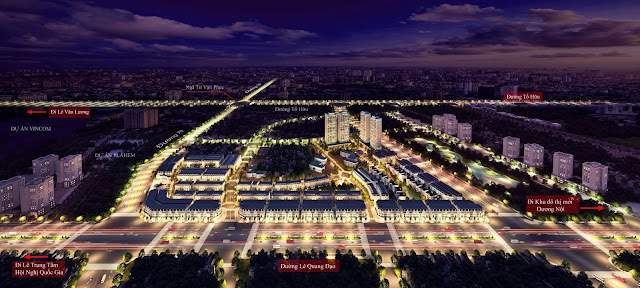Phối cảnh về đêm lung linh của dự án Louis City