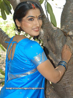 Actress Prabhavallika in Blue Silk Saree