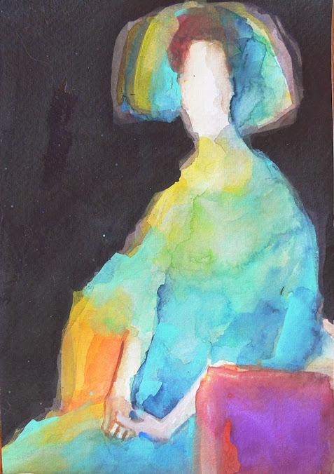 Teresa Muñoz,Pintora,Pinturas,Pintura en acuarela de Teresa Muñoz, Klimt Fritza Riedler  apropiacionismo pictorico