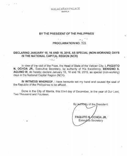 Malacanang Announced January 15, 16 19 as Holiday
