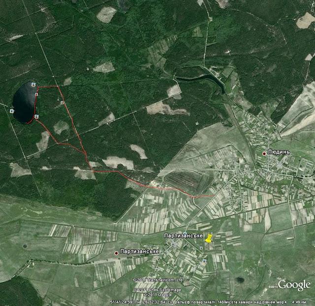 карта доїзду на озеро Сомине