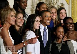 NCAA Women Basketball Champions at Whitehouse