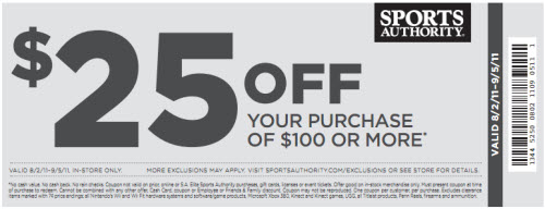 Sports Authority Coupon $25 Off