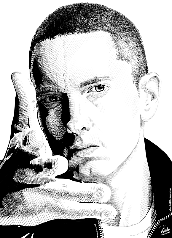 Ink drawing of Eminem, using Krita 2.4.