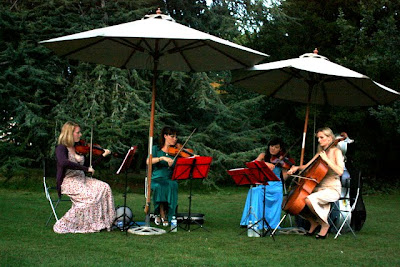 String quartet playing at an outdoor cinema in London England