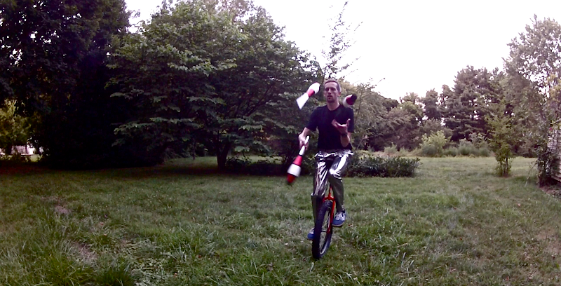 Disco Movie 3 Andrew juggling on Unicycle
