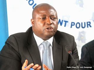 Clément Kanku, député national de la RDC le 20/08/2014 lors d'une conférence de presse au siège de son parti politique à Kinshasa. Radio Okapi/Ph. John Bompengo