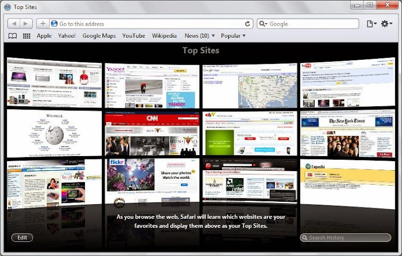 Screenshot of Safari v.5.1.7 Web Browser PC Software Free Download at Alldownloads4u.Com