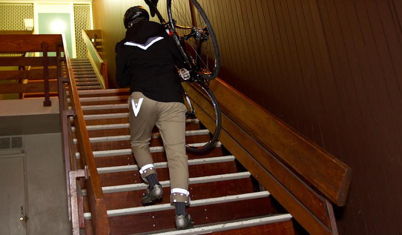 Khaki BTW Pants: Walking up stairs