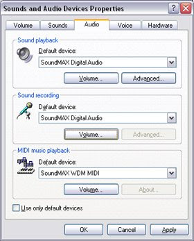Windows XP Sound Controls