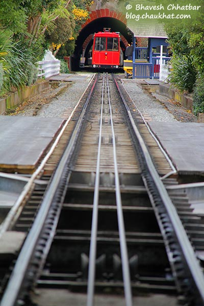 Wellington Cable Car going in tunnel