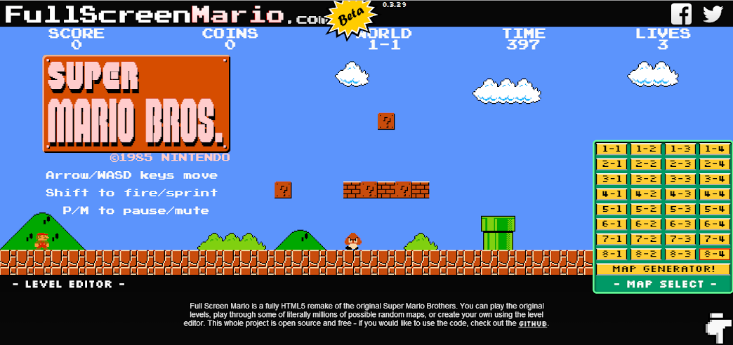 Old School Mario In Your Browser | Full Screen Mario com - Durofy