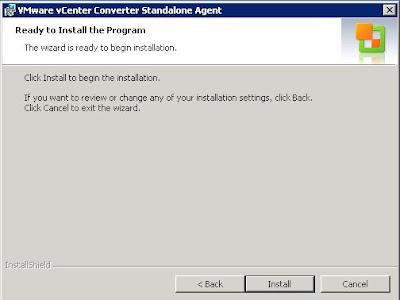 Instalar VMware vCenter Converter Standalone Agent en PC físico origen