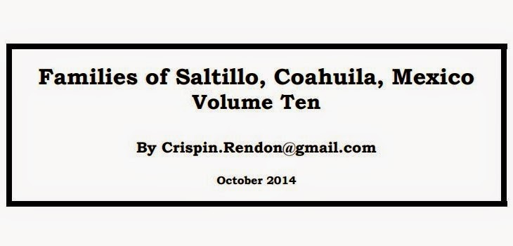 Families of Saltillo, Coahuila, Mexico Volume Ten