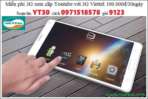 Đăng ký gói 3G Youtube Viettel