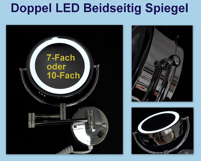 led wand kosmetikspiegel bad schminkspiegel spiegel 7 fach 10 fach vergr erung ebay. Black Bedroom Furniture Sets. Home Design Ideas