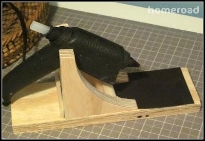 Wooden glue gun holder