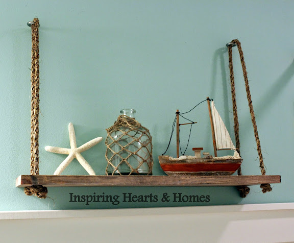 Swing Shelf, Rope Shelf, Nautical, Inspiring Hearts & Homes