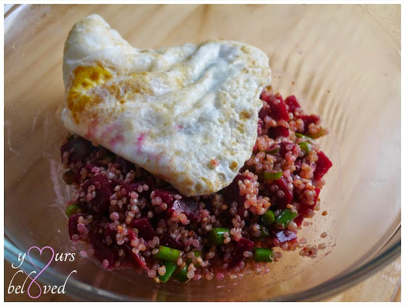 Beets, Garlic Scape, and Quinoa Salad with fried egg