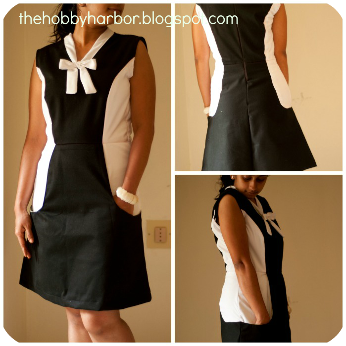 Pattern based on Melissa's variation from the book Burdastyle sewing handbook Color blocked with tie collar dress