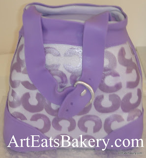 Purple fondant 3d Coach handbag Bridal shower with silver buckle