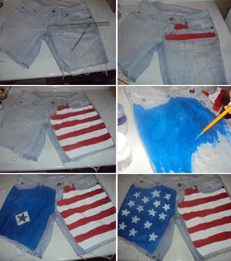 Customização de shorts jeans - estampa de bandeira