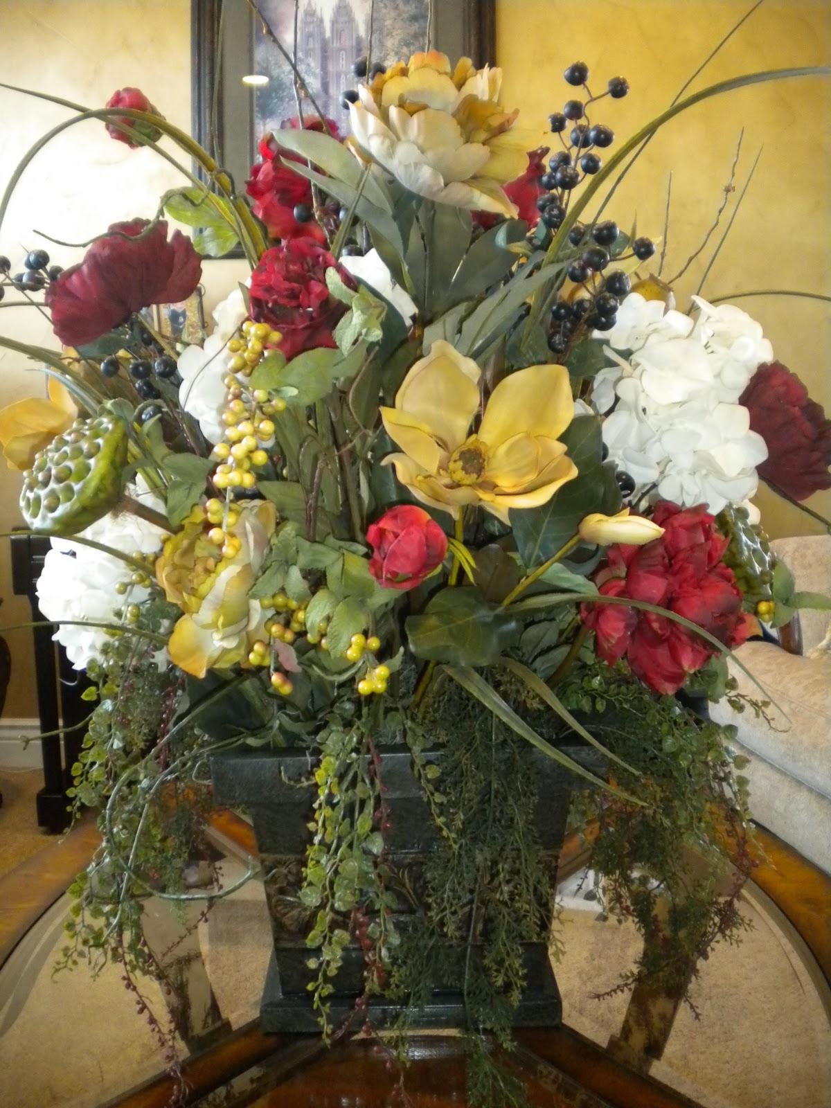 The flower girl silk centerpiece in burgundy