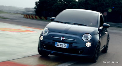 Fiat 500 on test track