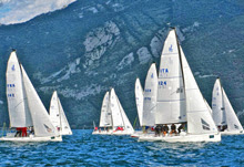 J/70s sailing upwind on Lake Garda, Italy