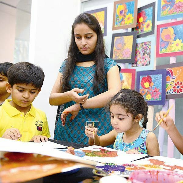 Kids indulge in fun art and craft activities during an event organised by BMW Parsoli Motors and Little Big Joys.