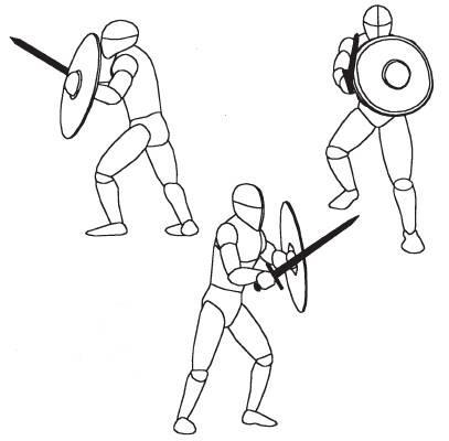 В толчее массового боя Средняя стойка очень полезна для сближения и уколов, или для запутывания оппонента.