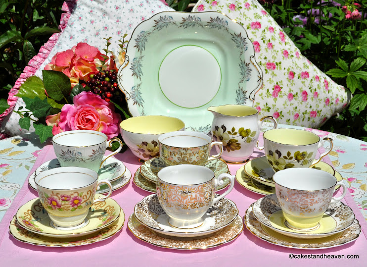Eclectic pastel green, yellow and gold vintage china tea set