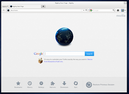 Firefox 14 nightly - home page