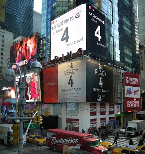 LG Steals Samsung Next Galaxy 4 Thunder in NY Times Square