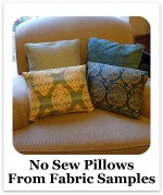 No Sew Pillows out of Fabric Samples