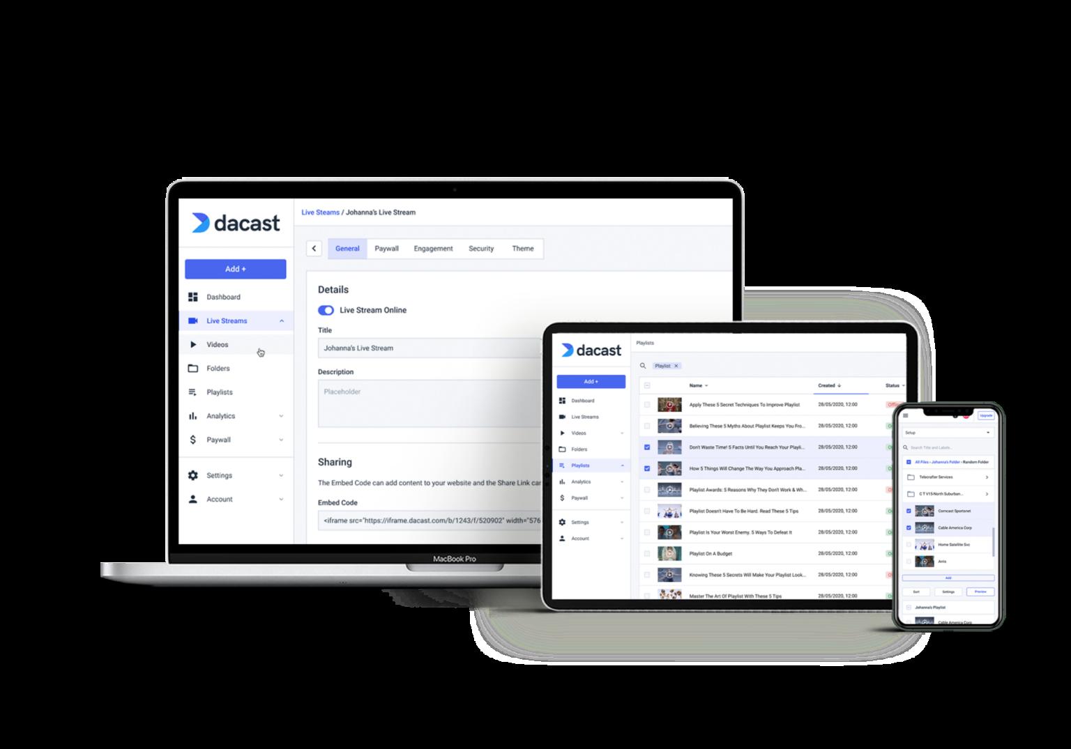Dacast's Website for Church Streaming Software Screenshot