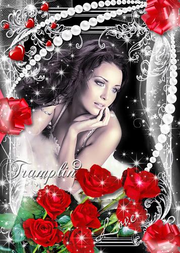 Рамка  для влюбленных с красными розами - Сердце моё - Вселенной частица
