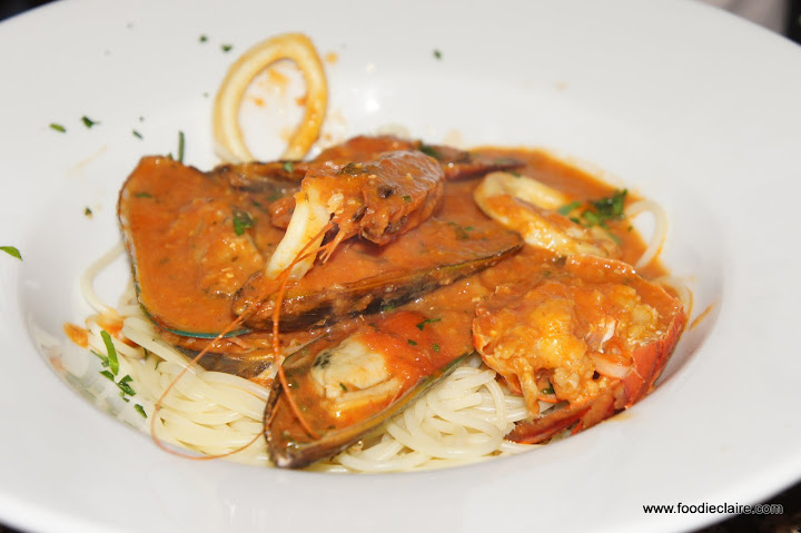 Lobster Marinara served with Spaghetti