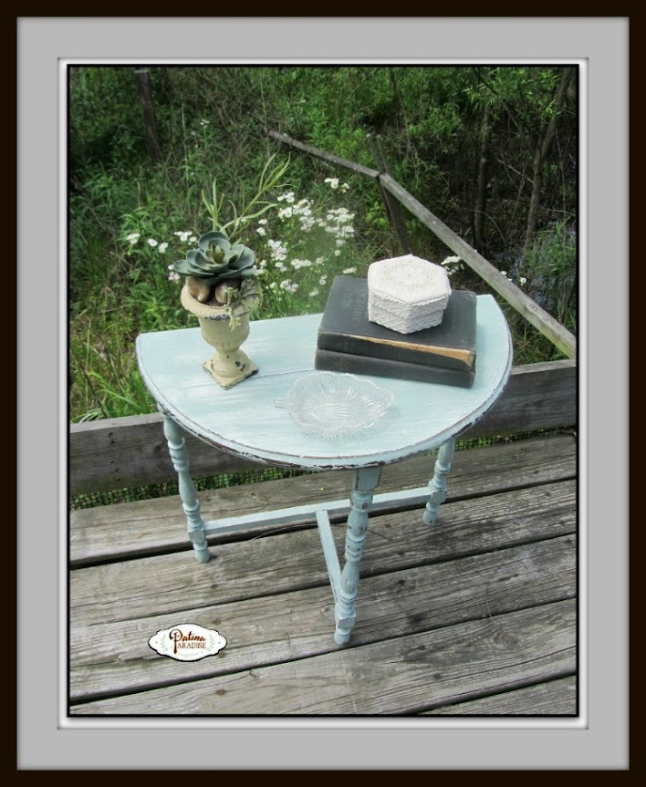 Distressed Tri Colored Side Table