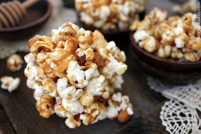 Orange Honey Caramel Corn recipe from cherryteacakes.com